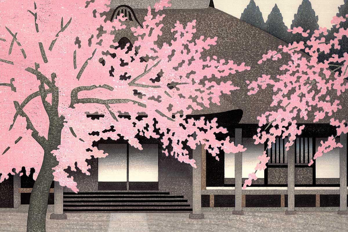 Abbildung Farbholzschnitt Tatsuo Kawashima: RAKUHOKU